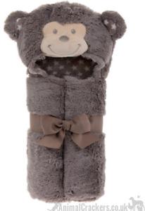 Lesser & Pavey Soft n Cute Fluffy Monkey Bathrobe baby children Christening Gift