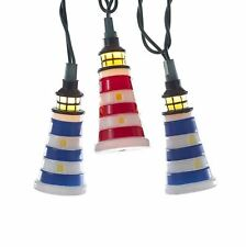 KURT ADLER RED WHITE & BLUE LIGHTHOUSE 10 LIGHT SET COASTAL NOVELTY XMAS DECOR