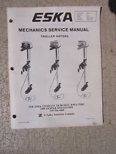 1974 -1977 Eska Electric Troller Motor Mechanic Service Manual Dubuque IA Boat G