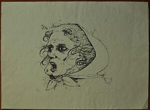 BRUNO CARUSO litografia Volto 50x70 firmata numerata 23/90