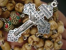 *HANDMADE OLD BONE SKULL & NEPAL VINTAGE COPPER BEADS ROSARY CROSS NECKLACE