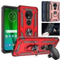 For Motorola Moto G7 Power Play Plus Spura Armor Stand Case Cover+Car Vent Mount