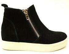Steve Madden Wedgie Womens US 7.5 Black Suede Leather Wedge Zip Sneakers