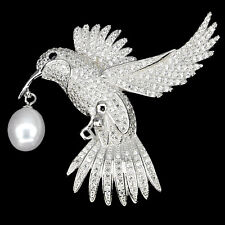 Sterling Silver 925 Genuine Cultured Pearl & Lab Diamond Dove Bird Design Brooch