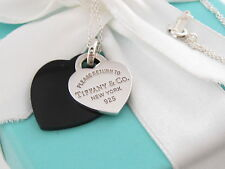 Tiffany & Co Return to Silver Black Onyx Double Heart Necklace Box Included
