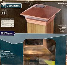 "Veranda Solar Powered LED  4"" x 4"" Black And Same Picture Post Cap Light NIB"