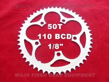 """MOJO Fixed Gear Chainring 50T - 110 BCD Track Fixie single speed 1/8"""" - SILVER"""