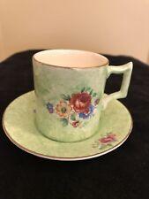 James Kent PV Fenton,Vintage Green Espresso or Demi Tasse Cup & Saucer