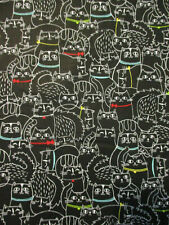 Fat Cats Scribbles Cat Collars Bright Black Cotton Fabric Fq