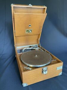 Rare Tan Croc HMV Model 101 portable Gramophone