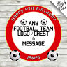 ANY FOOTBALL CLUB LOGO EDIBLE ROUND BIRTHDAY CAKE TOPPER DECORATION PERSONALISED