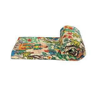 New Indian Cotton Kantha Quilt Twin Frida Khalo Screen Print Bedspread Coverlet