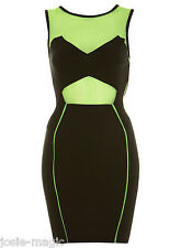 Miss Selfridge Green Black Sporty Bodycon Dress 14 42 Mesh Panel Cut Out New