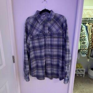 IBEX Merino Wool Blend Long Sleeve Blue Plaid Taos Snap Shirt Extra Large $195