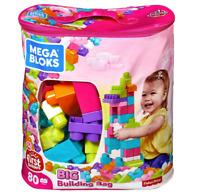 Building First Classic Big Bag 80 Piece Set Mega Builders Blocks Pink set