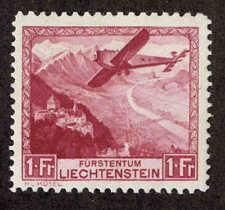 Liechtenstein # C-6  Airplane over Rhine Valley. MH VF.  1930