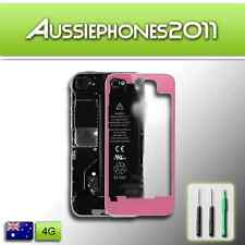 TRANSPARENT PINK Colour LCD Digitizer Glass Back Screen Cover for iPhone 4