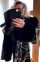 Mr & Mrs Lady Parka Satin lined Real fur slouchy coat Fox fur UK 8