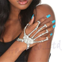 Punk Gothic Devil Talon Skull Skeleton Bone Hand Finger Ring Slave Bracelet 2017