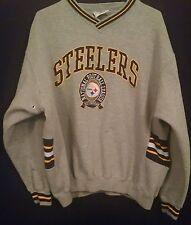 """Vintage 90s Pittsburgh Steelers Sweatshirt NFL Logo Athletic 19.5"""" Long Sleeve"""