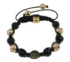 Para Hombre Negro y Oro Estrás Shamballa Bracelet granos de buena calidad 11x 10mm