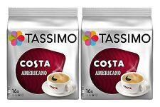2 x Packs Tassimo Costa Americano T Discs Pods - 32 T Discs 32 Large Drinks