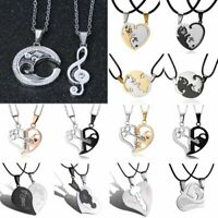2pcs Stainless Steel Silver Couple Heart Promise LOVE Pendant Necklace Chain