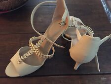 Size 8 High Heel Sandals M And S Leather Nude Colour Diamanté Lovely