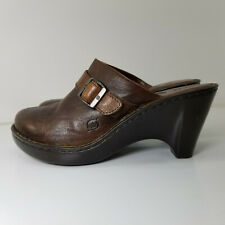BORN Women's Size 9 Brown Leather Mules With Buckle Casual Work Heels Shoes N014