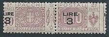1923-25 REGNO PACCHI POSTALI 3 SU 10 LIRE VARIETà SOPRASTAMPA MNH ** - ED774-4