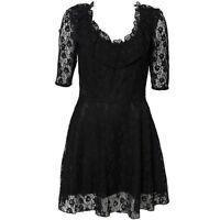 Topshop Black Lace Flippy Skater Celebrity Prom Tea Dress 50s Vintage UK8 US4 36