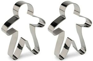 2 x Gingerbread Man Cookie Cutter Biscuit Pastry Fondant Metal 18cm Mould