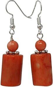 Women's Natural Orange Coral Dangle Drop Earrings Pierced Earrings for Women