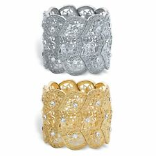 2-Piece Set Round Crystal Gold Tone and Silvertone Stretch Bracelets 7""