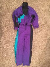 Vtg. women's Profile Ski Suit, 80's/90's snowsuit, small, purple & turquoise