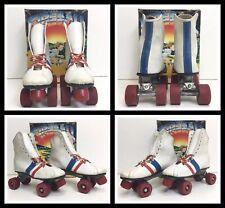 VTG WHITE ROLLER DERBY SKATES W/ URETHANE WHEELS Fireball Kids Size 6 W/ BOX!
