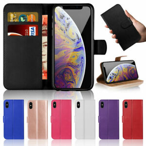 For iPhone 5 6 7 8 XR Phone Case Slim Leather Flip Case Wallet Folio Book Cover