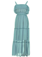 Women S/M Fit Green Spaghetti Strap Long Chiffon Maxi Summer Beach Dress