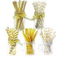 25Pcs Gold Color Paper Drinking Straws Vintage Birthday Wedding Xmas Party Decor