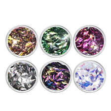 6 Colors Nail Art UV Gel Acrylic 3D Rhombus Shape Glitter Sequins Powder Kit