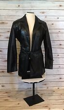 Danier Genuine Soft Leather Coat Womens XS Black Belted Quilted Lining Pockets