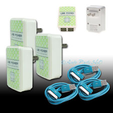 3X 4 USB PORT WALL ADAPTER+10FT CABLE POWER CHARGER AQUA FOR IPHONE 4S IPOD IPAD
