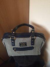 Antler Ladies Hand Bag Flight Bag Navy/white Herringbone