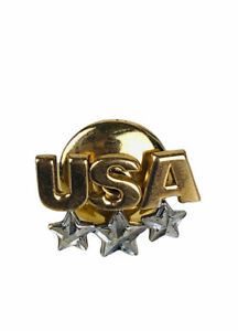 10k White & Yellow Gold USA Tack Pin Stars Tie, Brooch