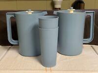 2-VINTAGE TUPPERWARE BLUE PITCHERS 2 Qt.  #1676 & 2- #1348 Blue 12 oz tumblers