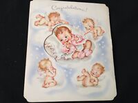 #507 Precious Vintage 1940S Baby Congrat Greeting Card Naked Angel Babies Wings
