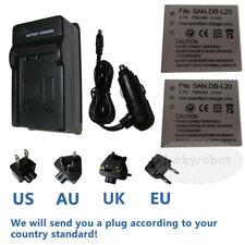 2X Battery+charger For DB-L20 Sanyo Xacti VPC-CA6 VPC-CG6 VPC-CG65 VPC-CG9 CA9
