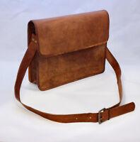 Handmade leather messenger shoulder Bags brown vintage retro satchel bag Large