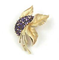 Vintage Crown Trifari Floral Leaf Brooch Gold Tone Purple Rhinestones