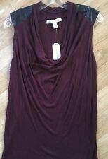 French Laundry Purple Sleeveless Blouse Women's Large Black Faux Leather CLASSY!